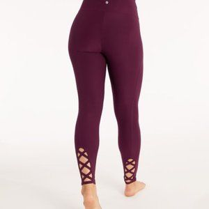 NWOT Bally RockFit Coolmax Laced Legging maroon